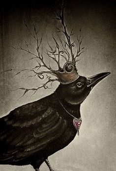 Love the Crow Crown and the Heart necklace.