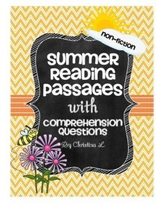 Free Summer Reading Passages with Comprehension QuestionsThis is a small sample of my monthly reading passages.They can be used as a quick warm up, in reading centers or for homework.It includes 4 reading passages with 3 comprehension questions each: Flag Day Buzzing Bees!