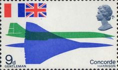 First Flight of Concorde 9d Stamp (1969) Plan and Elevation Views