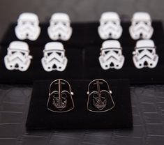 Star Wars wedding inspiration - these Darth Vader and Stormtrooper cufflinks are awesome for the groom and groomsmen.