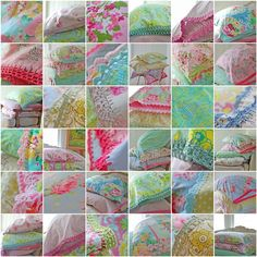 rosehip blog full of lovely crochet edged pillow cases and other lovely crafts.