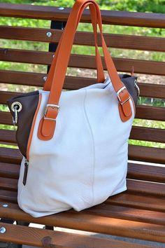 LARGE LEATHER Handbag ,Leather Hobo Bag,Pebbled Leather Bag,Shopper Bag,Shoulder Bag,Cream Leather Bag
