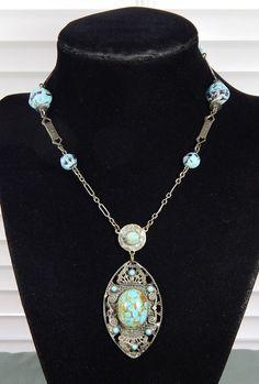 Vintage Edwardian Art Deco Turquoise Glass Cab Filigree Lavalier Necklace