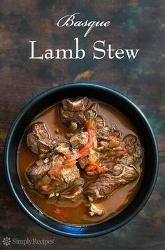 Basque Lamb Stew ~ Marinated, slow-cooked, lamb stew with lamb shoulder, garlic… Lamb Recipes, Meat Recipes, Slow Cooker Recipes, Cooking Recipes, Slow Cooking, Recipies, Cooking Lamb, Cooking Tips, Dinner Recipes