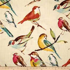 This lined pair of cafe curtains are made from premium Richloom Birdwatcher fabric. I saw this at a fabric store and it almost took my breath Bird On Branch, Fabric Birds, Wall Fabric, Cafe Curtains, Drapery Fabric, Tablecloth Fabric, Linen Fabric, Home Decor Fabric, Toss Pillows