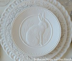 Easter or Spring Tablescape Table Settings with Pottery Barn Bunny Plates