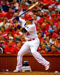 Louis Cardinals Autographed 16 x 20 White Hitting Photograph Stl Cardinals, St Louis Cardinals, Yadier Molina, Detroit Red Wings, New T, Mlb, Baseball Cards, Fitness, Sports