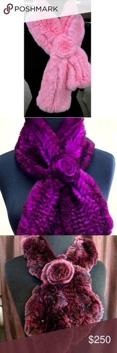 Rex Rabbit Fur Pull-Thru Scarves Rex Rabbit Fur Pull-Thru Scarves  Super Soft!  made in the USA or Canada (depending on scarf)  Please visit our website for additional colors, color combinations, and styles. Accessories