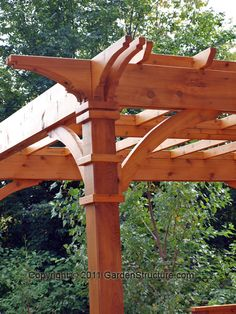 Red Cedar Post Details-- Pergola in Toronto done last year by www.gardenstructure.com