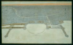 Plan of Chicago, Plate 87: View Looking West Over the City, Showing the Proposed Civic Center, the Grand Axis, Grant Park, and the Harbor by Jules Guerin, delineator;  Edward Herbert Bennett, architect; Daniel Hudson Burnham, architect. Grant Park, Burnham, Art Institute Of Chicago, Vintage World Maps, Plate, How To Plan, City, Dishes, Plates
