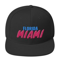 This hat is structured with a classic fit, flat brim, and full buckram. The adjustable snap closure makes it a comfortable, one-size-fits-most hat. Miami Florida, Snapback Hats, Ted, Baseball Hats, Baseball Caps, Caps Hats, Snapback, Baseball Cap