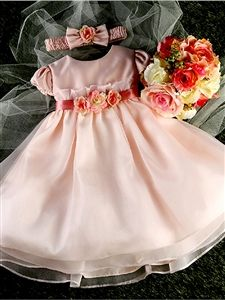 #KCB810WPK : Gorgeous Lace Top & Simple Organza Skirt Flower Girl Dress