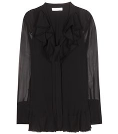 Chloé - Ruffled silk crêpe blouse - Chloé offers a floaty, seductive update to the classic silk shirt. A must-have essential for your repertoire, the semi-sheer crêpe sleeves reveal just the right amount of skin, counterbalanced by its modest, ruffled neckline. We're pairing ours with tailored trousers and a blazer for a supremely smart finish. seen @ www.mytheresa.com