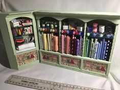 DOlls House Miniatures 1/12th Green painted Haberdashery