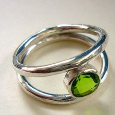 on SALE now at shopify.com  Sterling Silver Double Band with Peridot Gemstone
