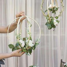 Set of 2 Handcrafted Blush Rose Floral Hoop Wreaths Bridal Shower Decorations, Flower Decorations, Wedding Decorations, Wedding Ideas, Wedding Themes, Diy Wedding, Wedding Reception, Wedding Cakes, Wedding Planning