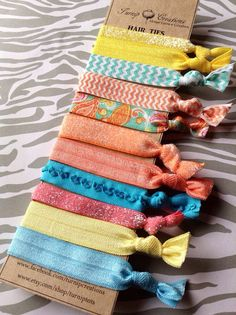 Hair Ties Summer Citrus Paisley, Turquoise, Peach, Coral, Yellow Glitter, Ruffle elastic pony tail holder