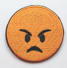 Angry Emoji Patch Embroidered Iron on Badge Applique DIY Customize Bag Hat Shirt Collectible Fun Cool Text Orange Pouting Mad Face *** You can get more details by clicking on the image.