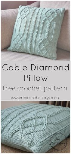 The pattern of Cable Diamond Pillow is giving a modern twist to this traditional cable texture.