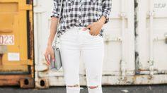 Buffalo Checks Oxford Shirt White Distressed Jeans