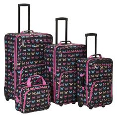 Rockland Nairobi 4-pc Expandable Luggage Set - Butterfly