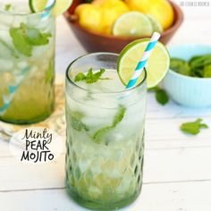 This Minty Pear Mojito is the perfect autumn cocktail! Full of flavor and simple to make. Love this drink! Yum!