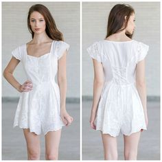 This embroidered white romper pairs well with flats or gladiator sandals: http://ss1.us/a/zftgulKV
