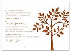 Plantable Invitations ~ Shalom (Tree of life) - Give your wedding stationery a dreamy and romantic feel with these tender branches of the tree of life. This powerful design from ForeverFiances offers a beautiful glimpse of nature on seeded paper. Tree Wedding Invitations, Wedding Stationery, Wedding Cards, Woodsy Wedding, Wedding Ideas, Reception Card, Seeded, Tree Designs, Save The Date Cards
