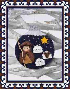 Christmas ball Shepherd with 3 sheep