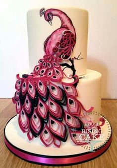 Pink Peacock Wedding Cake - For all your cake decorating supplies, please visit craftcompany.co.uk                                                                                                                                                     More