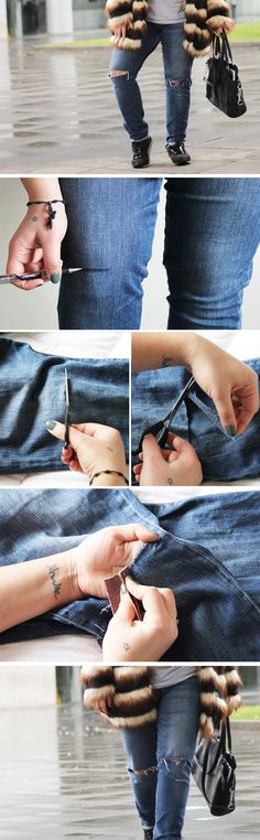 A really cheap, quick and easy way to DIY Ripped knee jeans or busted knee - one of the latest fashion trend for a lower price (plus fun time) Diy Ripped Jeans, Ripped Knees, Men's Jeans, Skinny Jeans, Gifts For Campers, Camping Gifts, Mens Casual Jeans, Do It Yourself Fashion, Camping Accessories