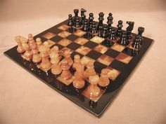 """Ultimate luxury and beauty, a gift to be remembered! 10% off orders of $99 and up, use code CUSTOMER REWARD at checkout! The Game Supply - Black and Brown 14.5"""" Alabaster Chess Set, 3""""King. #alabasterchesssets #luxurychesssets"""