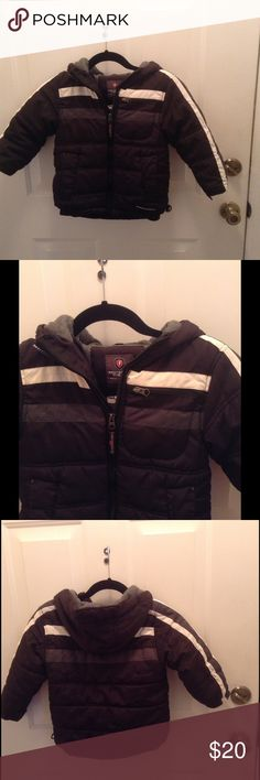 Protection System  Colorblocked Puffer Outerwear NWOT!!  This boys jacket has a lined grey fleece hood, 2 front pockets, and a front zipper closure.  It's 19 inches long and 100% Polyester.  Excellent condition!! Protection System Jackets & Coats Puffers
