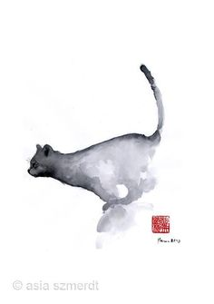 Japanese Watercolor Painting - Cat Grey Black Blue Navy Funny Kitten Jump Meow Watercolor Painting by Johana Szmerdt Japanese Watercolor, Watercolor Animals, Watercolor And Ink, Abstract Watercolor, Ink Painting, Watercolor Paintings, Watercolors, Jumping Cat, Animal Posters