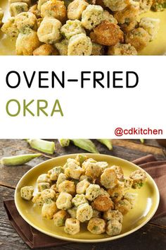 Oven-Fried Okra - No Southern spread is complete without okra. This recipe is a bit healthier than the typical deep-fried variety, but no less authentic tasting with buttermilk and a crispy cornmeal crust. Don't let deep-frying keep you away from okra any longer. Made with yellow cornmeal, kosher salt, black pepper, ground red pepper, buttermilk, large egg, fresh okra pods, cooking spray | CDKitchen.com Oven Fried Okra, Okra Fries, Okra Recipes, Snack Recipes, Party Recipes, Snacks, Recipe For 50 People, Side Dish Recipes, Side Dishes