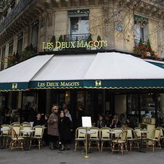 27 Of The Greatest Places In The World To Get Hot Chocolate   Les Deux Magots in Saint Germaine des Pres. Hisotric Cafe,,,,writers, artists and intellectuals, Paris