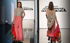 """Ashley Nell Tipton and Candice Cuoco's Season 14 Episode 3 Final Look on 'Project Runway's"""" cruise ship challenge."""