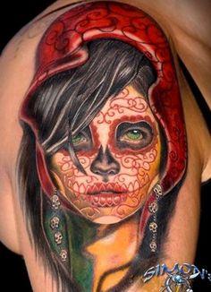 Red Devil Face Tattoo On Shoulder photo - 1