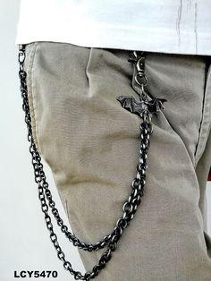 Cool Rocker Punk Gothic Black Bat Men Silver Metal Waist Biker Wallet Chain Belt #Unbranded