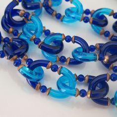 Vtg Haute Couture Archimede Seguso Pate de Verre Glass Blue Chain Link Necklace