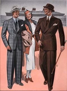1930s mens fashion - English Drape Suits were popular for men in the 1930s. English drape suits have wider shoulders than other suits and have a slimmer pant