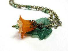 Flower Pendant Necklace Orange and Green Vintage by jewelrybyNaLa, $32.50
