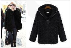Black Faux Fur Hooded Long-sleeved Coat   www.ustrendy.com   #USTrendy