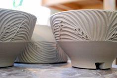 carved bowls. http://joytannerpottery.blogspot.com/2012/02/by-hand.html
