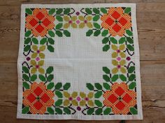Lovely floral cross stitch embroidered  tablecloth in cotton from Sweden