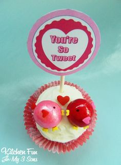 Valentine Love Birds Cupcakes...so easy & great for class parties at school!