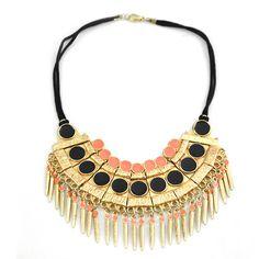 Sweet safari beaded necklace - gold/black/peach