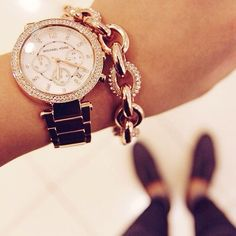 Can't resist a shiny stacked wrist with a Michael Kors rose gold watch and some pave sparkle!