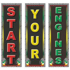 race car centerpieces   Race Car Racing Themed Star Your Engines Cutout Party Decorations ...