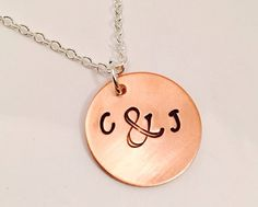 Hand Stamped Jewelry - Personalized Necklace - Ampersand Initial Necklace - Personalized Jewelry - Initial Jewelry - Stamped Necklace